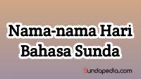 Nama-nama Hari Bahasa Sunda
